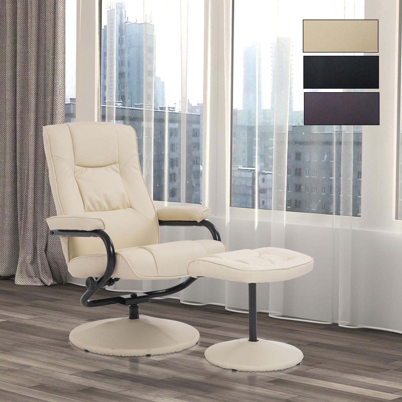 Recliner Chair Swivel Armchair Lounge Seat w/ Footrest Stool Ottoman ...
