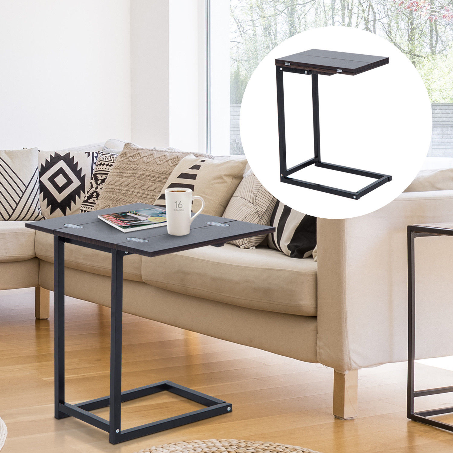 Details about expandable side end tray table folding top laptop coffee holder modern furniture