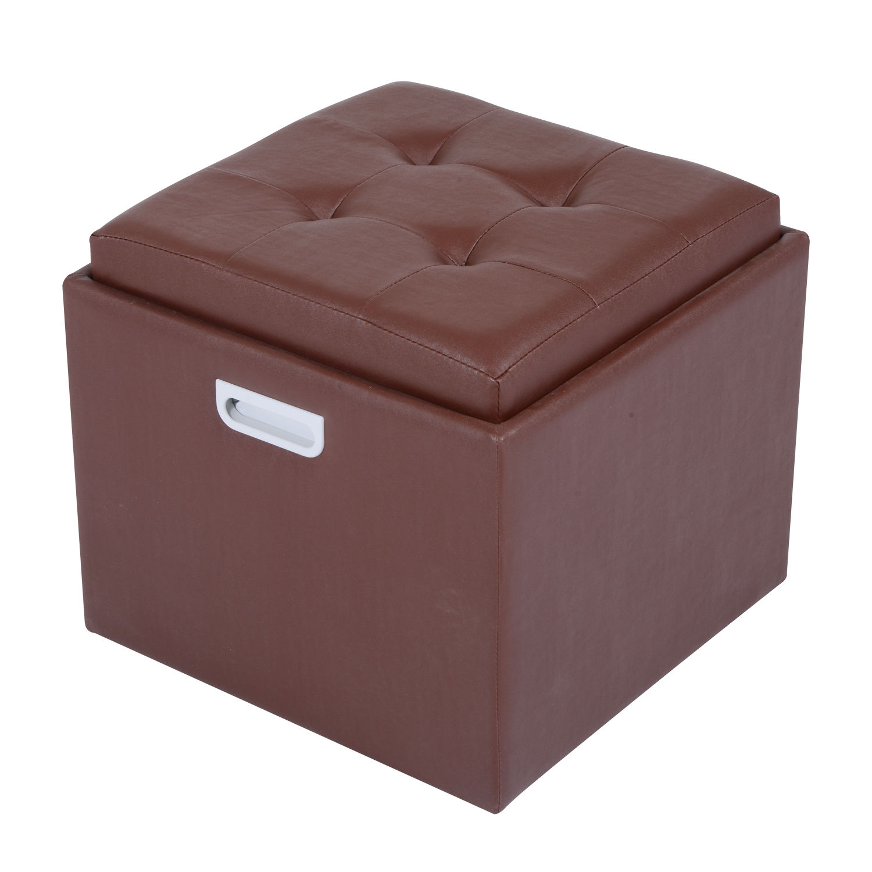 Genial 15 034 Tufted Cube Storage Ottoman Footstool PU