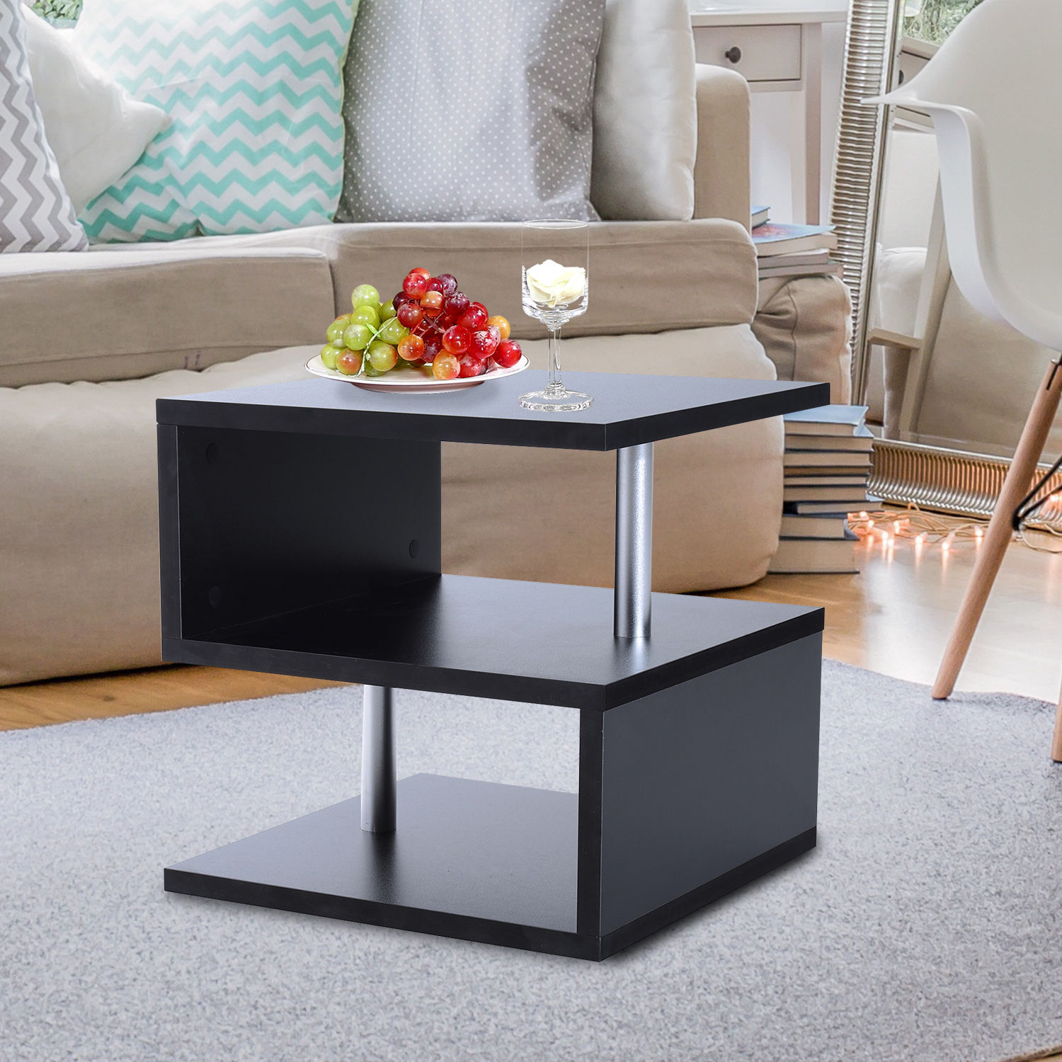 2 Tier Side End Coffee Table Storage Shelves Sofa Couch