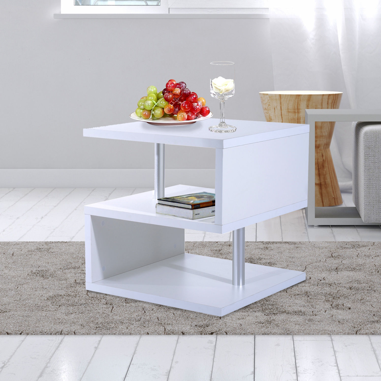 2 Tier Side End Coffee Table Storage Shelves Sofa Couch Living Room ...