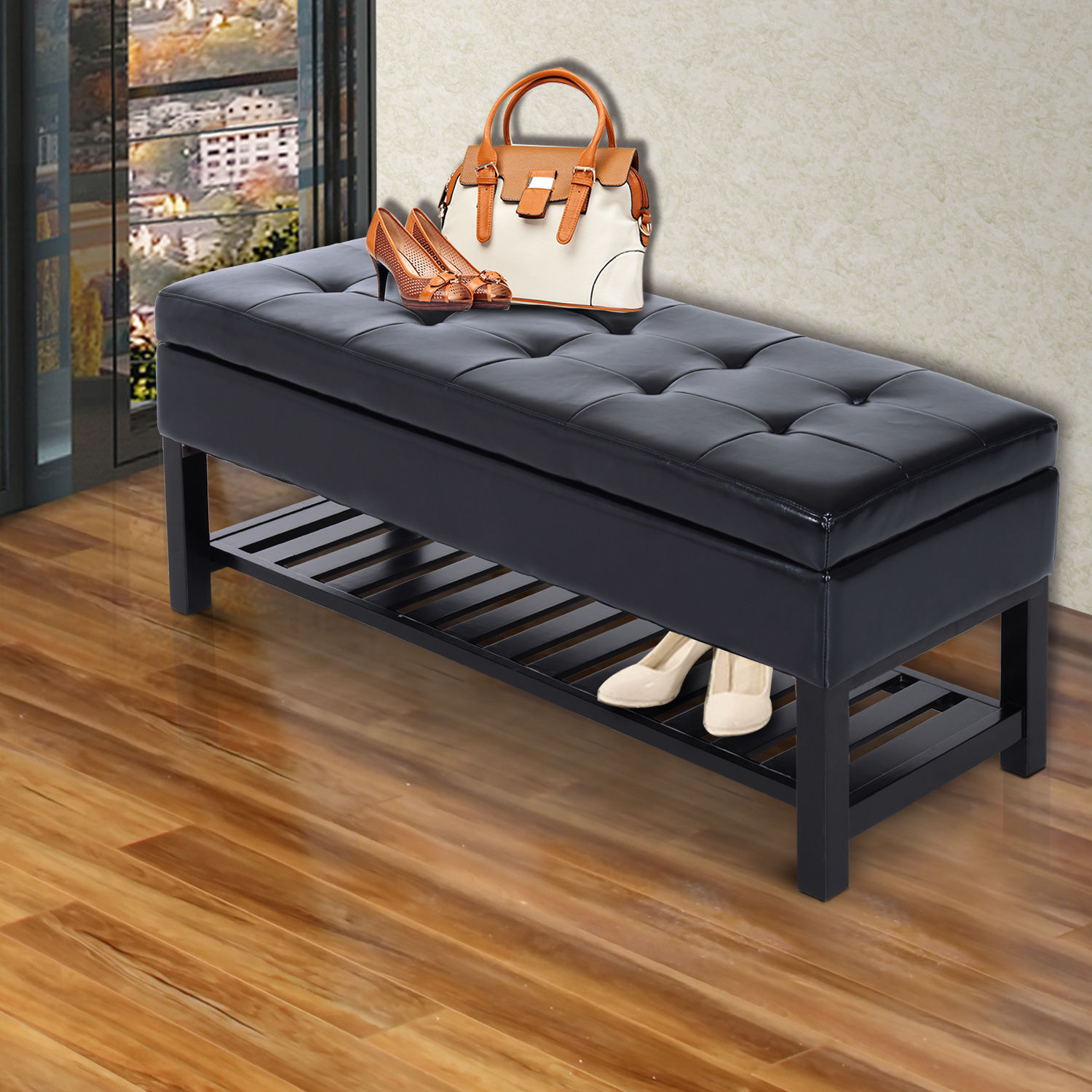 "Entryway Bedroom Shoe Storage Organizer Ottoman Bench New: 44"" Brown Faux Leather Ottoman Bench Seat With Storage And"