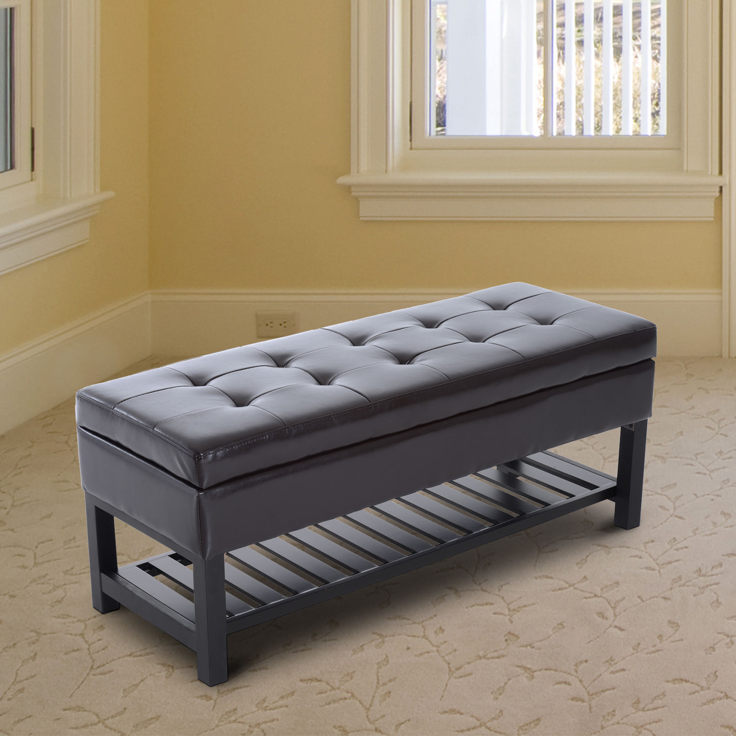44 Quot Brown Faux Leather Ottoman Bench Seat With Storage And