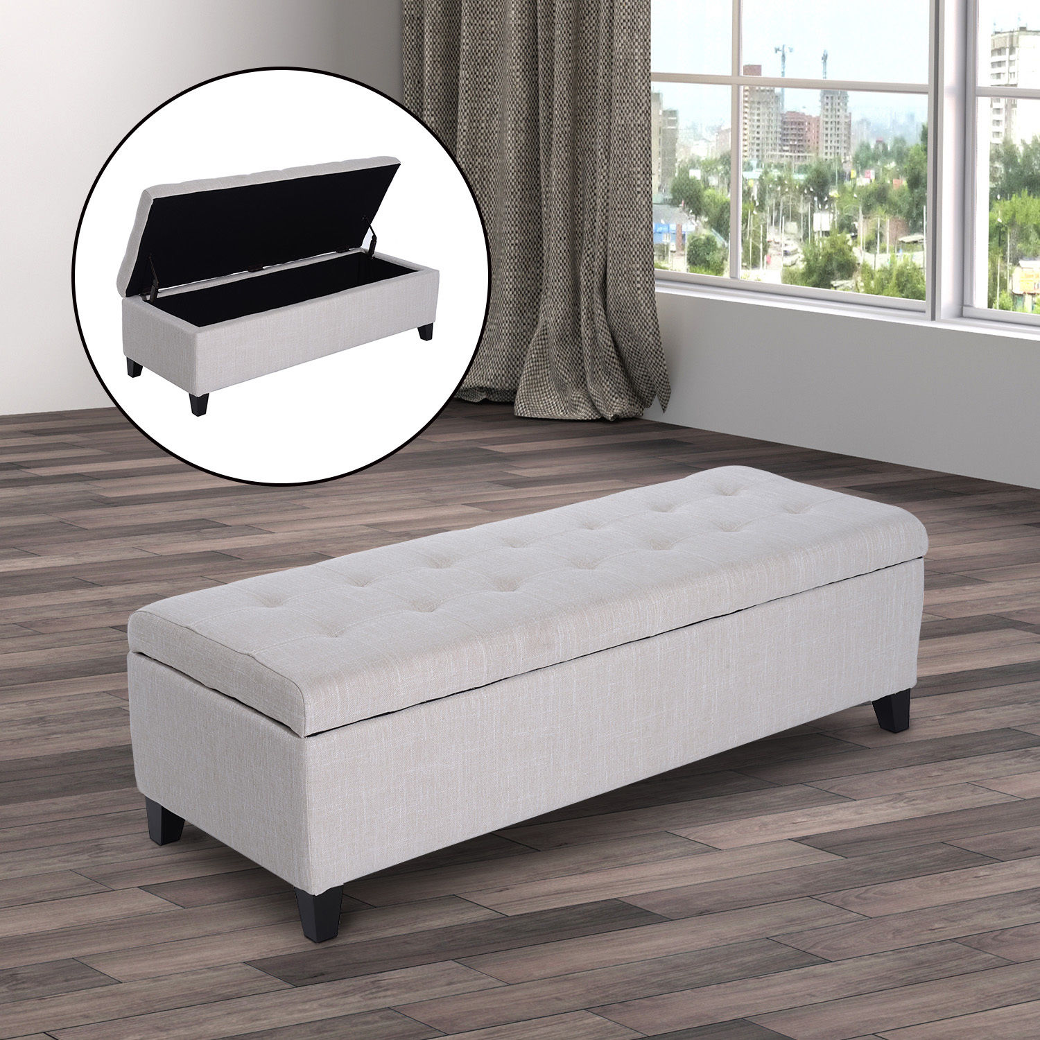 51 Quot Large Tufted Top Storage Bench Ottoman Footrest Stool