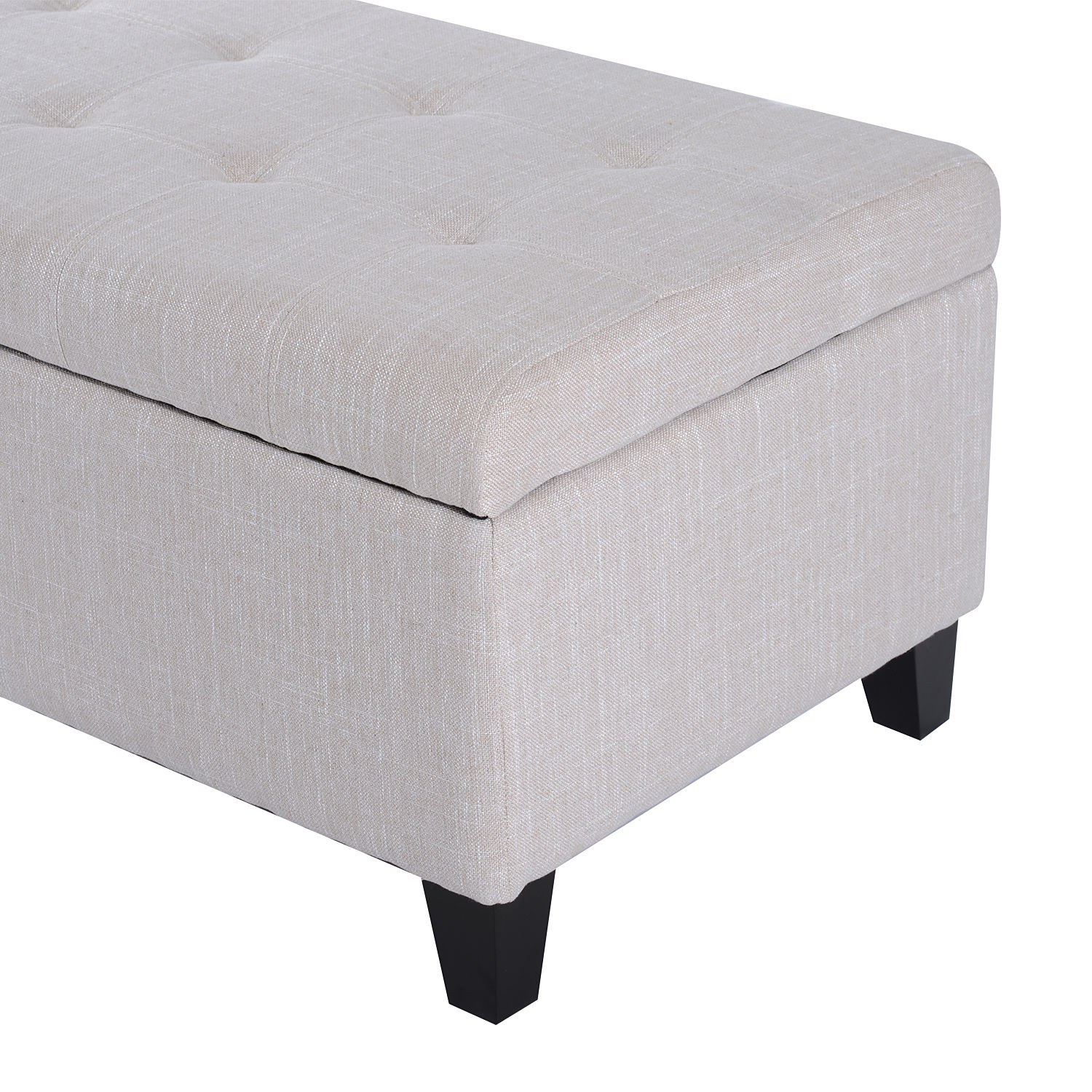 51-034-Lift-Top-Storage-Ottoman-Tufted-Fabric-Shoe-Bench-Footrest-Stool-Seat thumbnail 7
