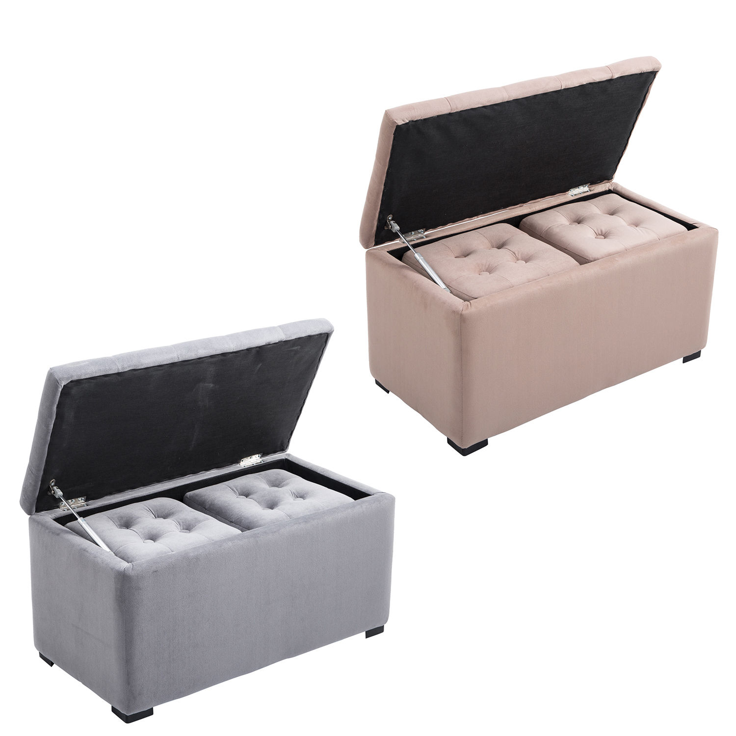 Detalhes sobre 3Pcs Nested Storage Ottoman Bench Set Pouf Tufted Footstool Footrest Living Room