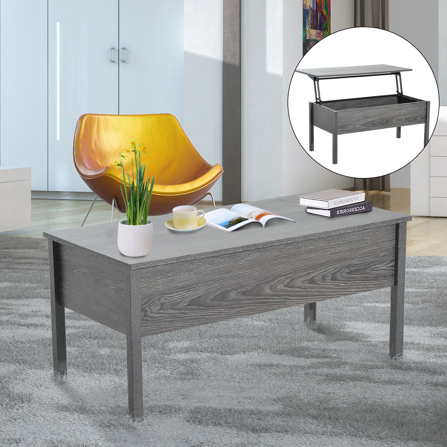 Modern Coffee End Table Lift Top With Storage Space Living