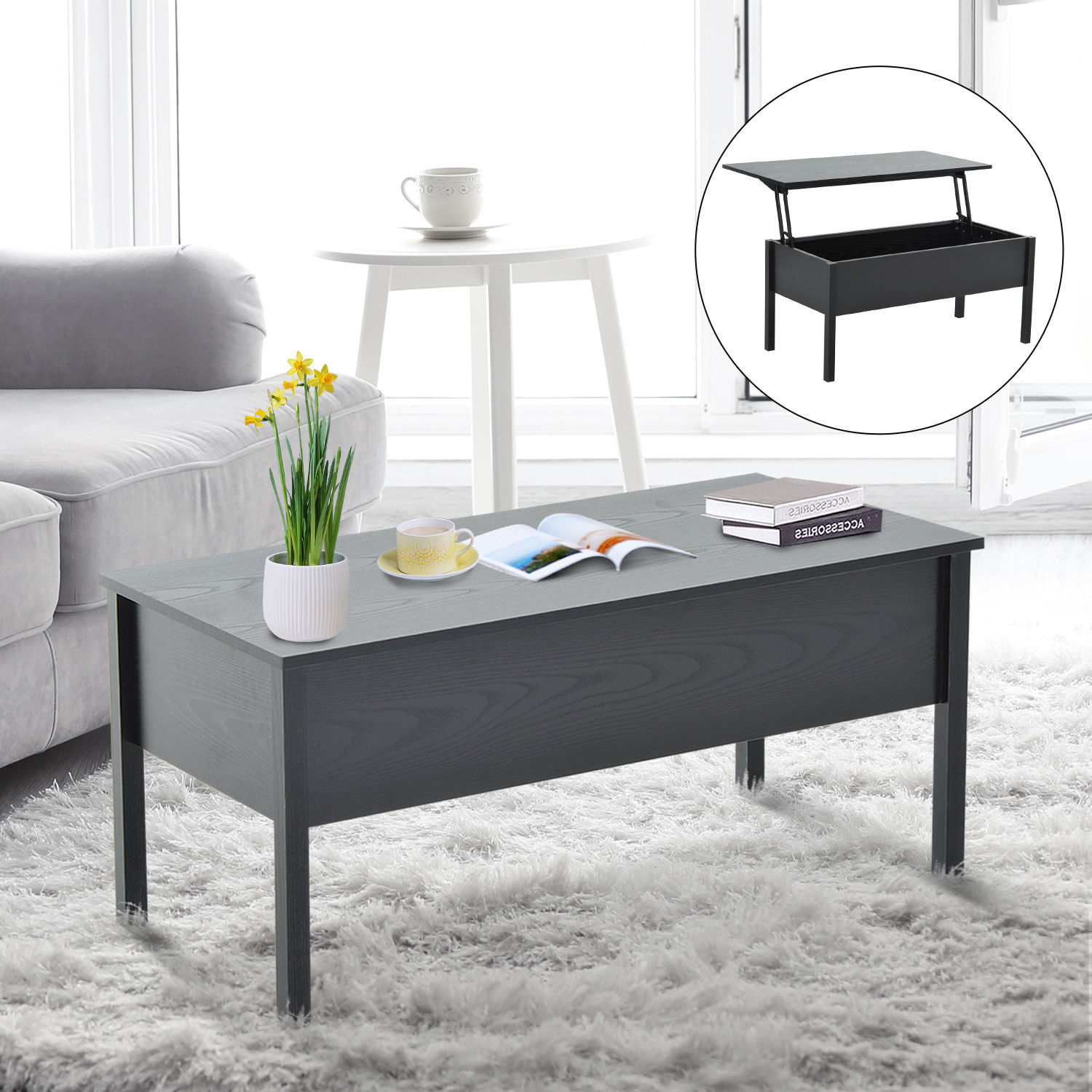 Modern Coffee End Table Lift Top with Storage Space Living Room Home ...