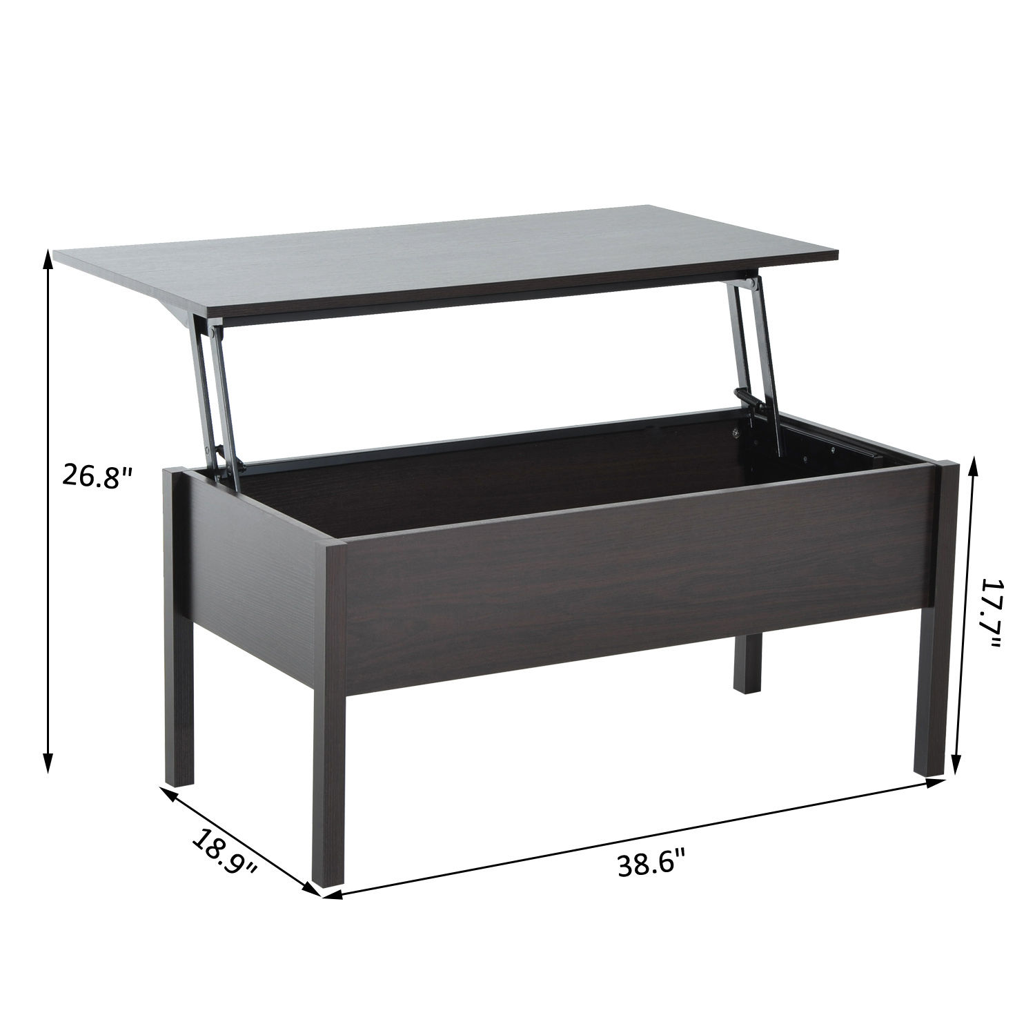 HOMCOM-Wood-Coffee-Table-End-Table-With-Lift-Top-Storage-Shelf-Home-Furniture thumbnail 9