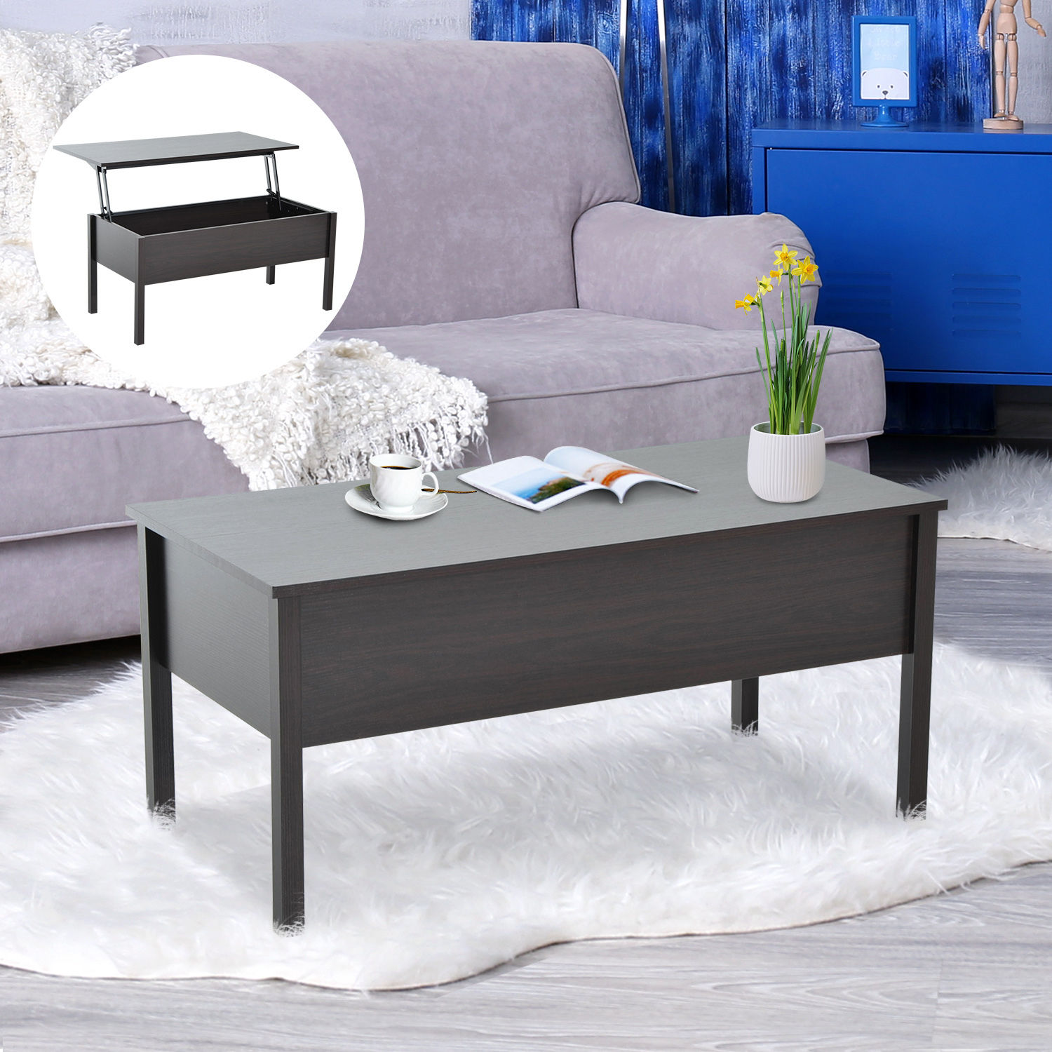 Best Storage Coffee Table: Modern Coffee End Table Lift Top With Storage Space Living
