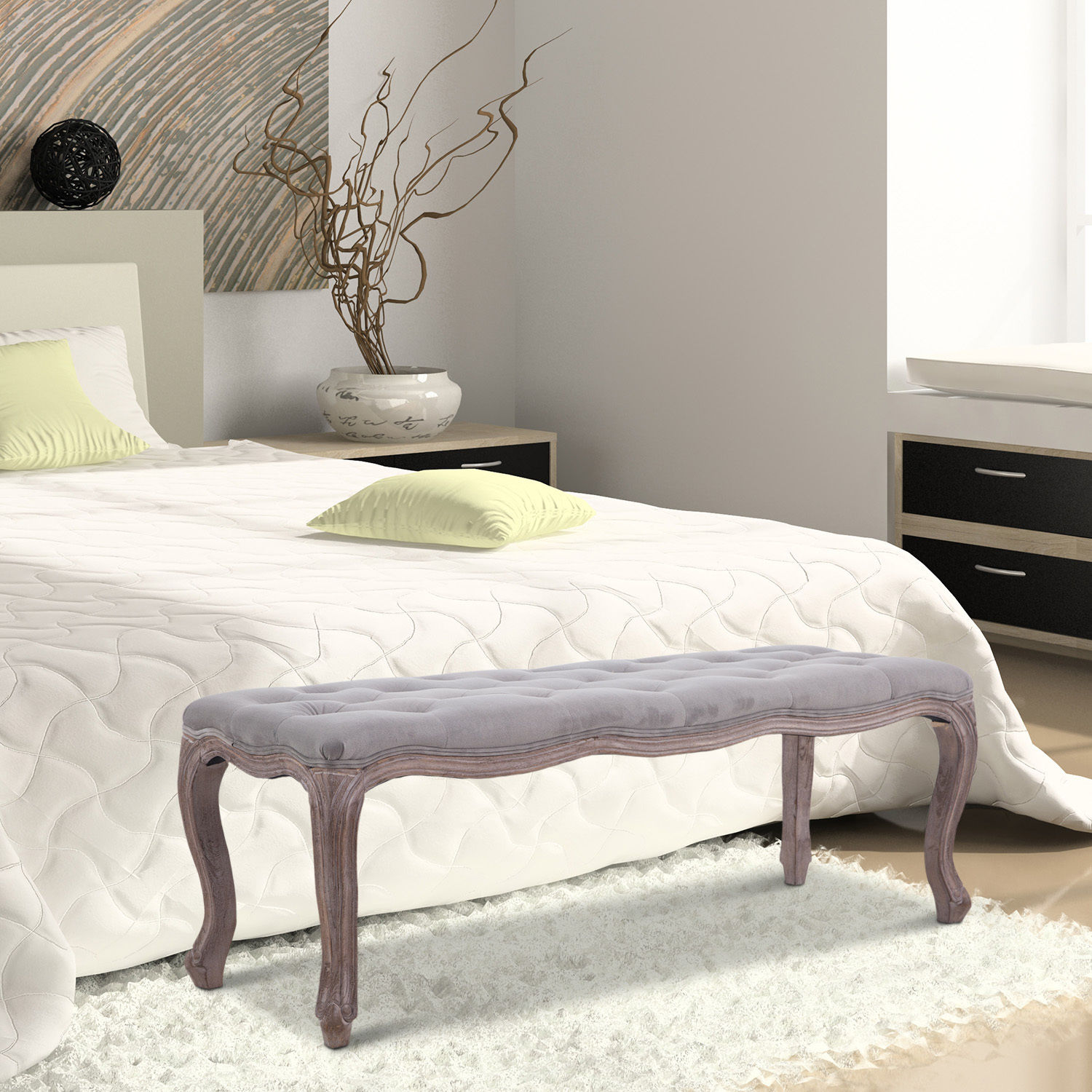 Upholstered Bench Tufted End Of Bed Seat Ottoman Wood