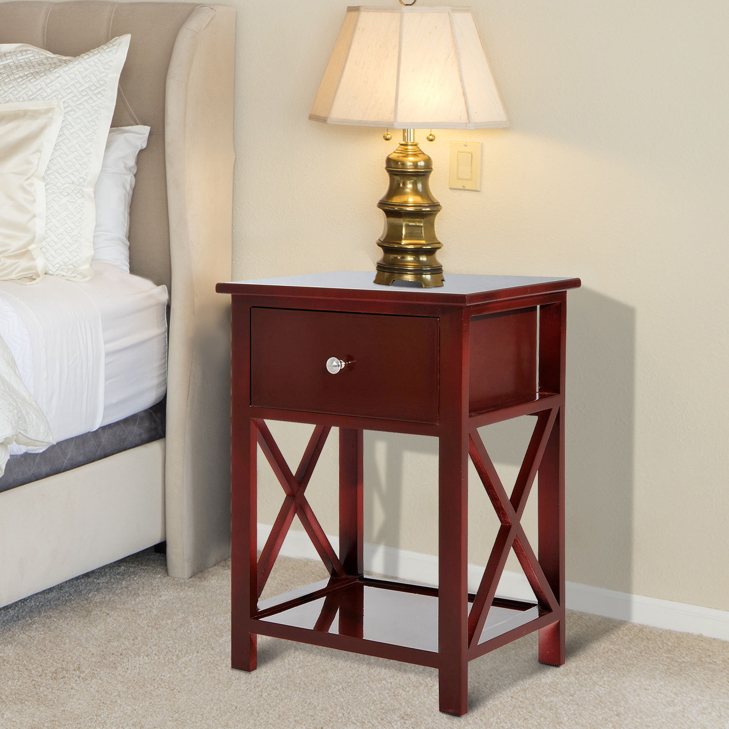 Wooden End Side Bedside Table Nightstand Bedroom Decor w Drawer