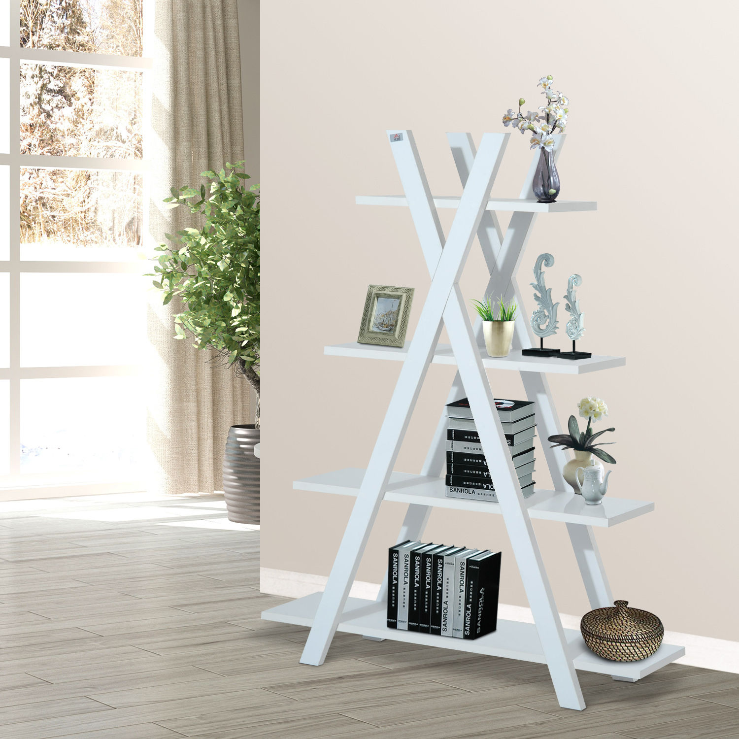 4-Tier A Frame Bookcase Display Storage Rack Ladder Bookshelf Home ...