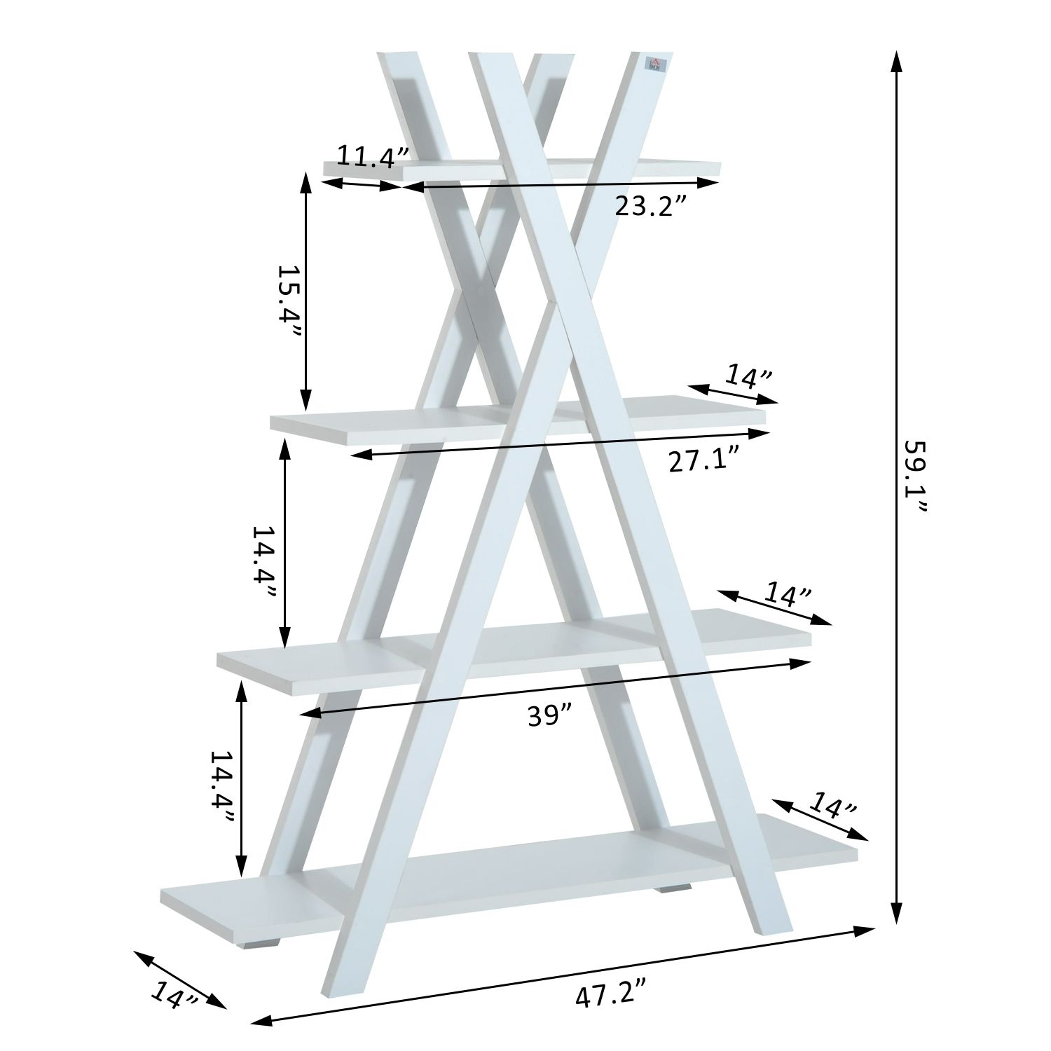 4 Tier A Frame Bookcase Display Storage Rack
