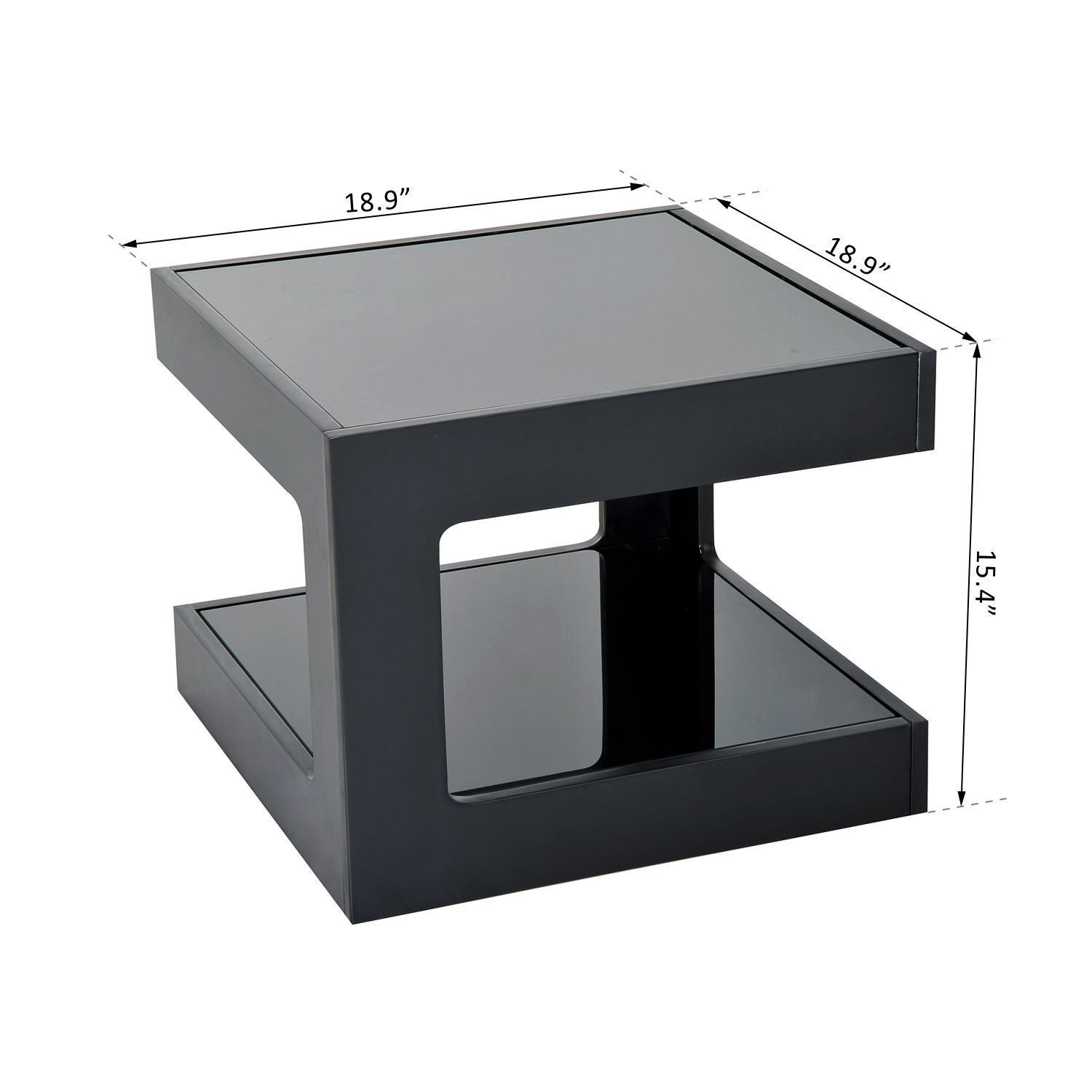 Modern Square Cube Coffee Side Sofa End Table W Glass Top Living Room Furniture Ebay