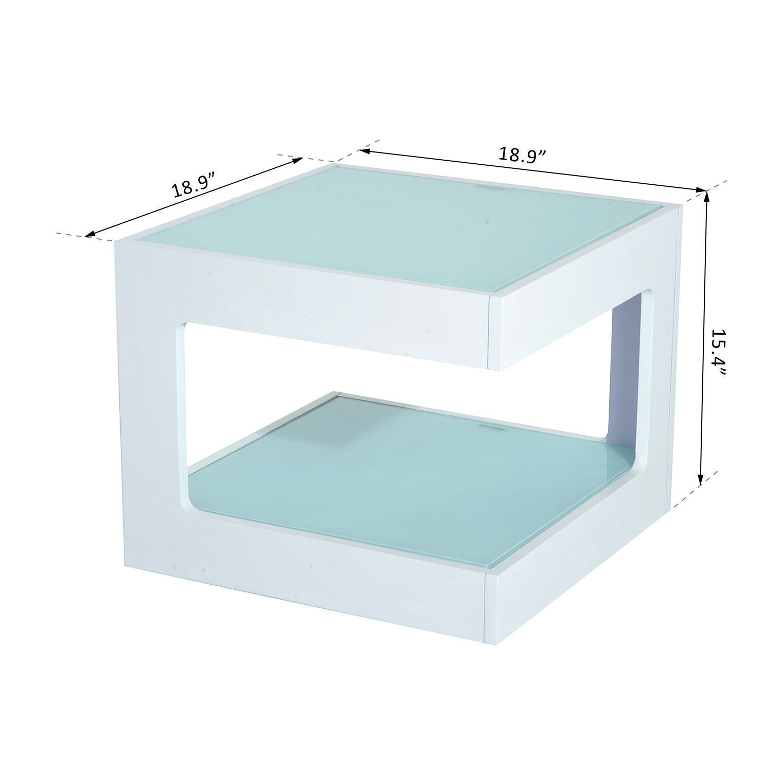 Modern Square Coffee Table With Glass Top: Modern Square Cube Coffee Side Sofa End Table W/ Glass Top