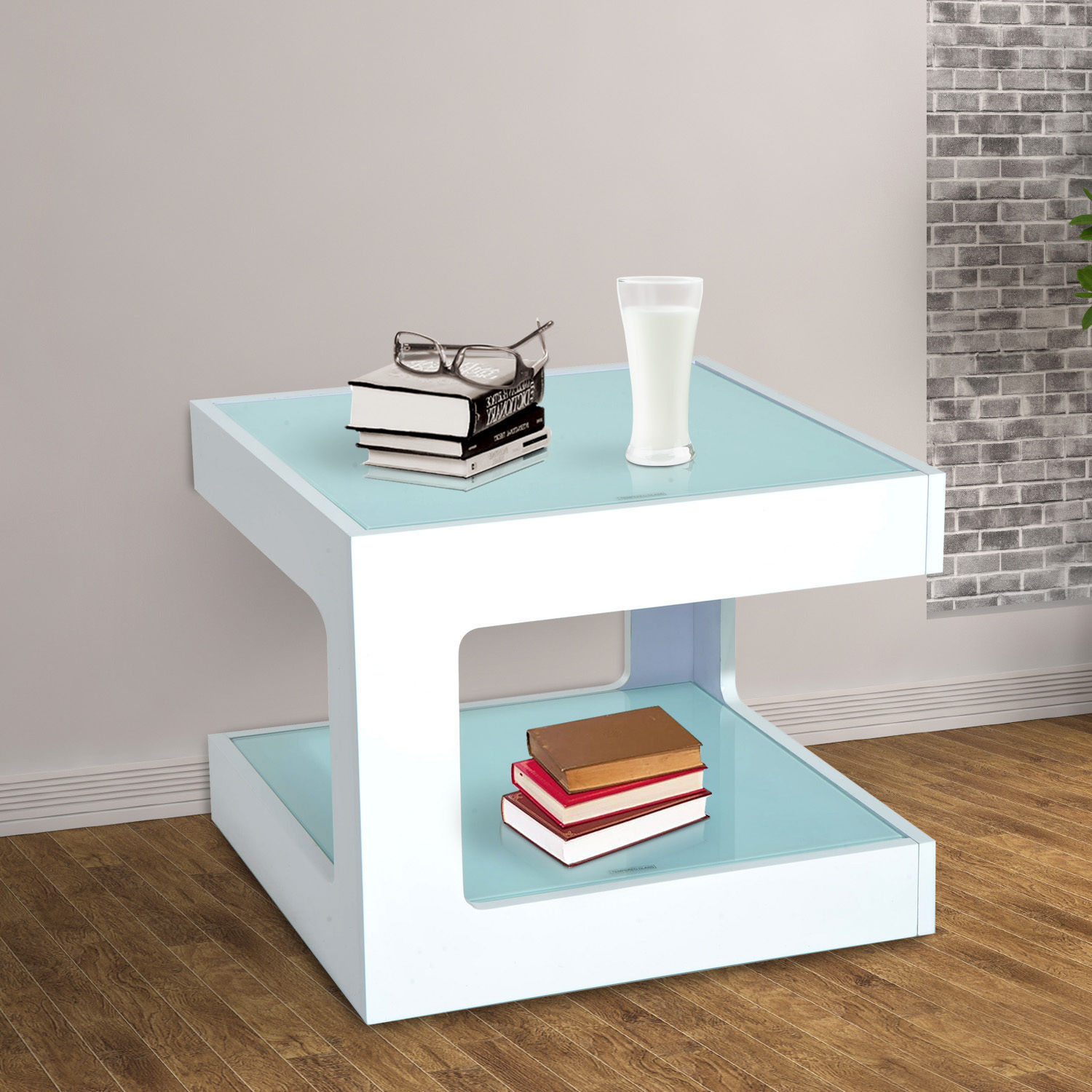 Modern Square Cube Coffee Side Sofa End Table w/ Glass Top Living ...