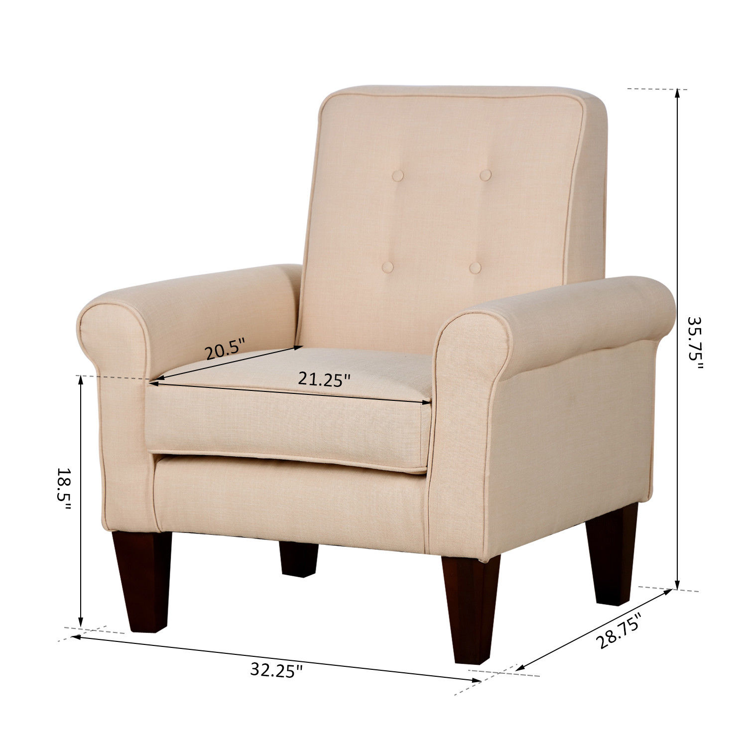 Accent tufted back linen upholstered club chair armchair - Modern upholstered living room chairs ...