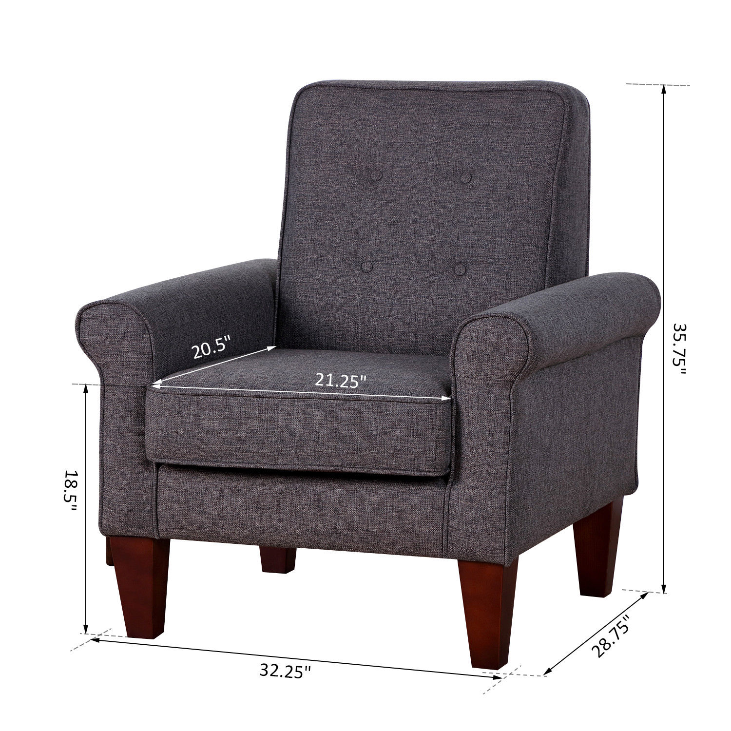 tufted living room chair accent tufted back linen upholstered club chair armchair 13677