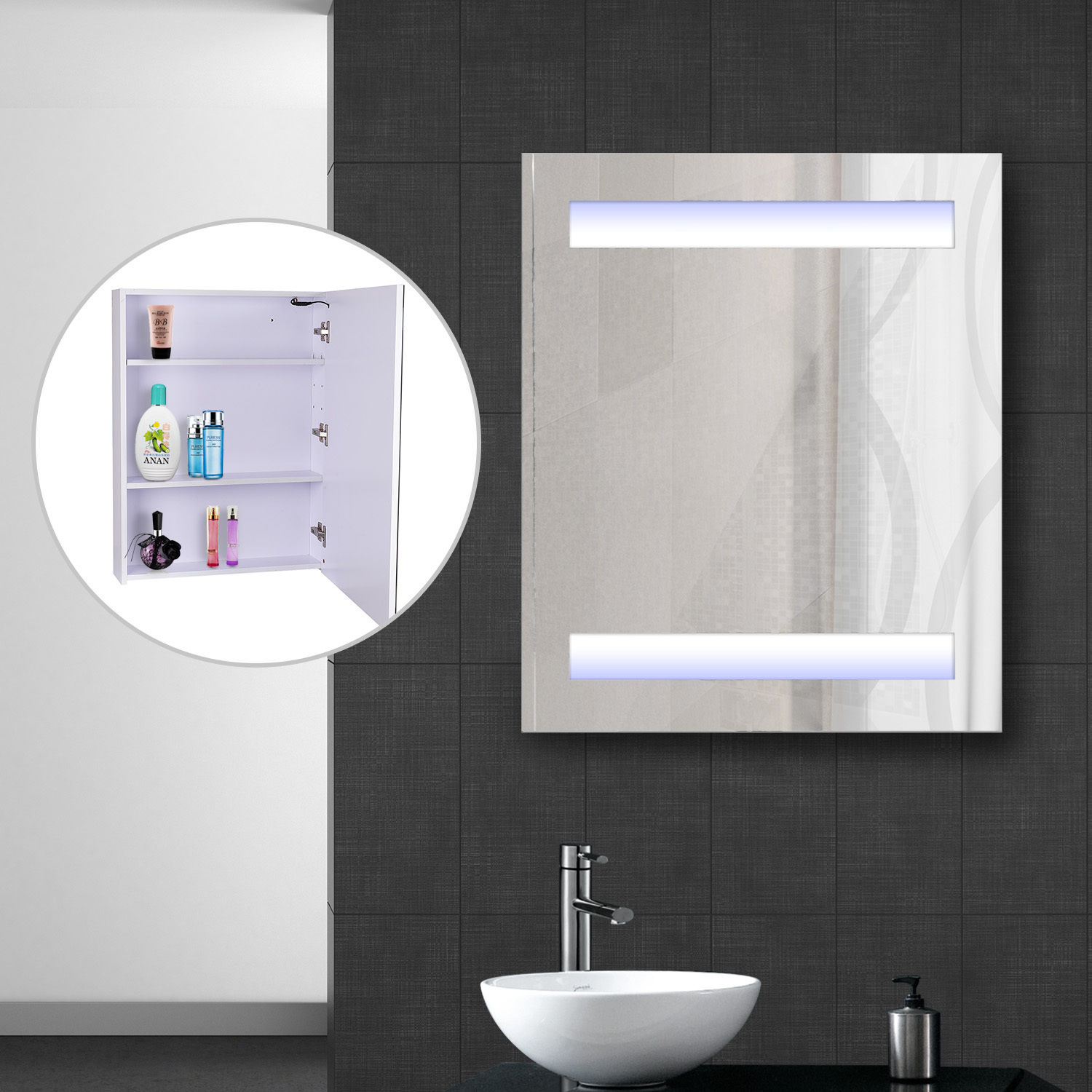 LED Wall Cabinet Mirror Wall Mounted Bathroom Medicine Cabinet w/ 3 ...