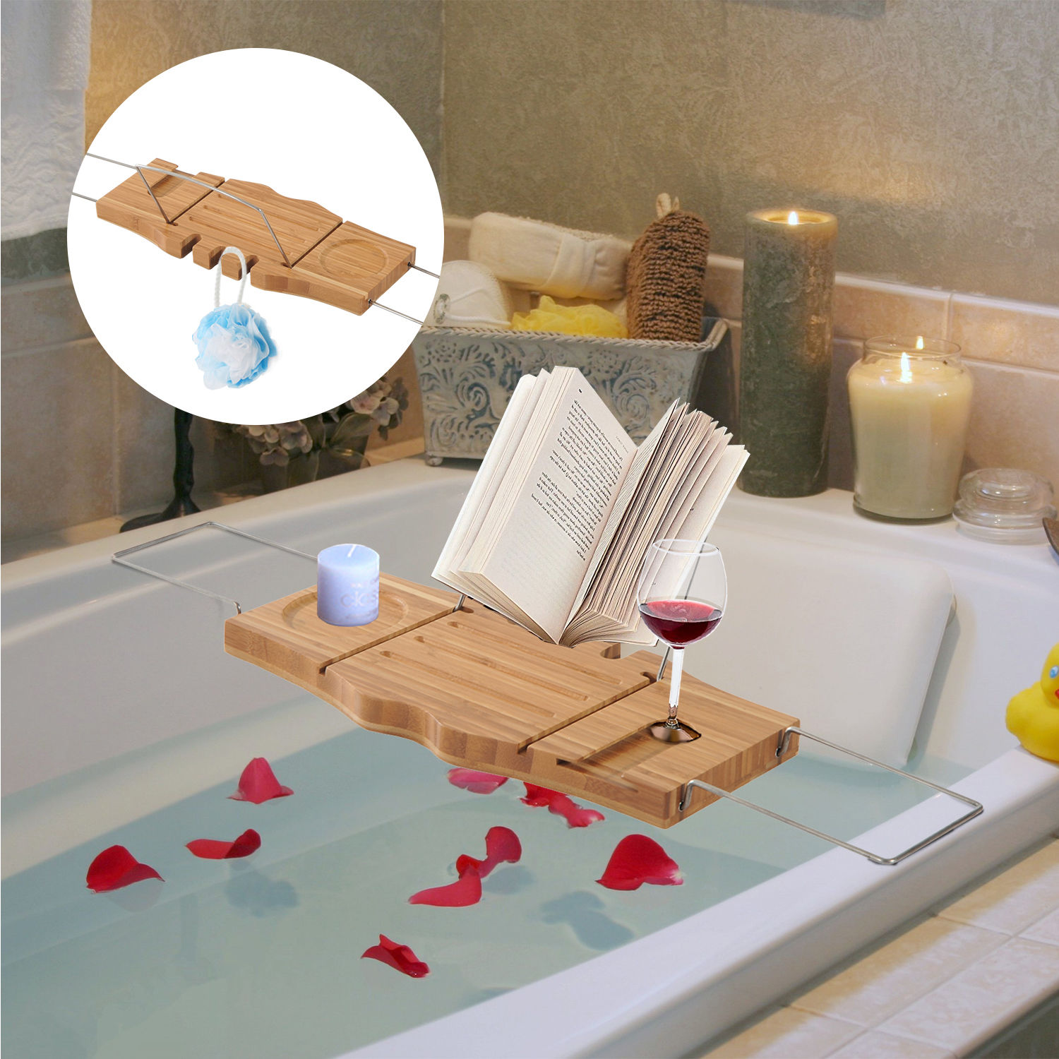 Adjustable Bamboo Bathtub Rack Shelf Caddy Tray Wine Holder Book ...