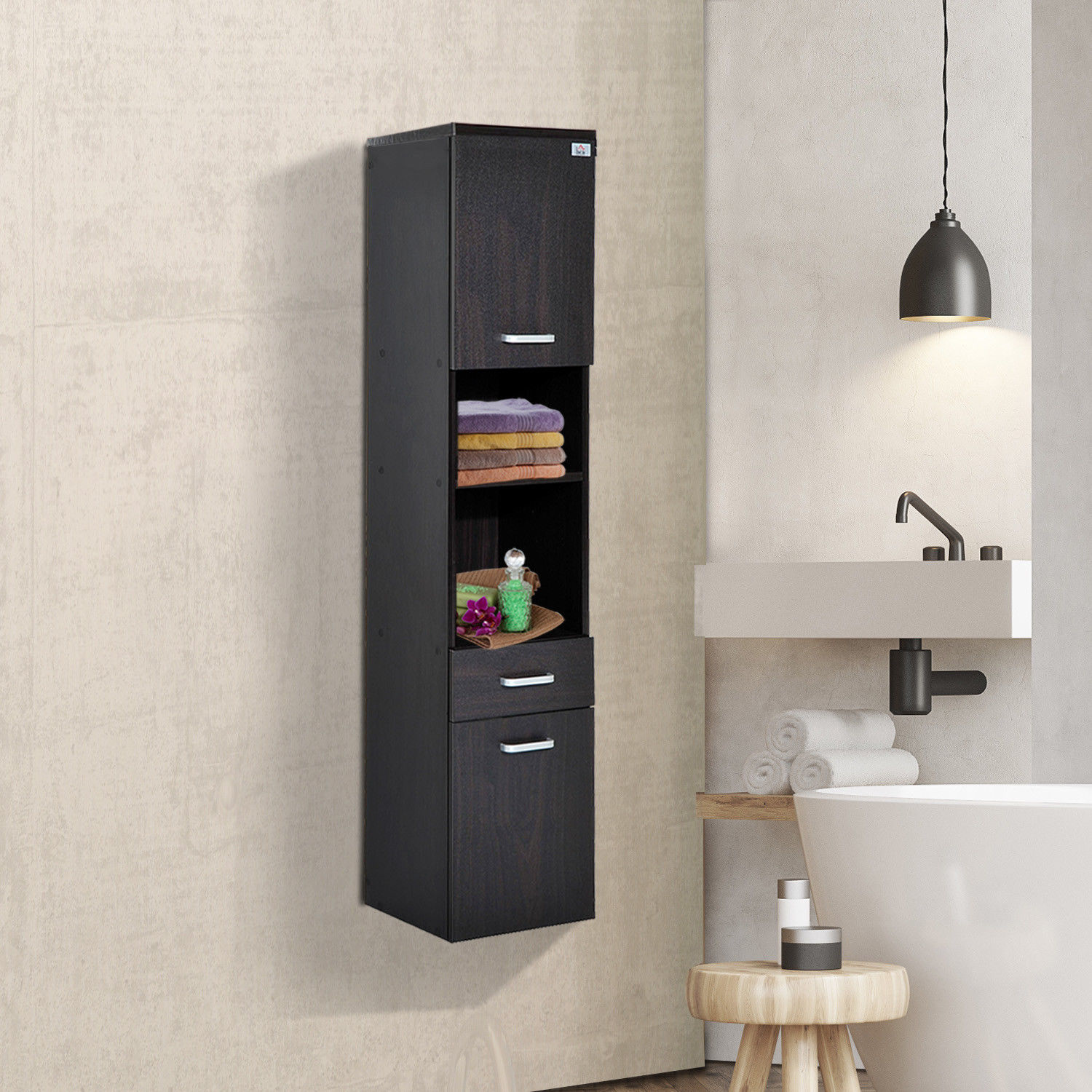 "53"" Tall Modern Wall Mounted Bathroom Cabinet Storage ..."