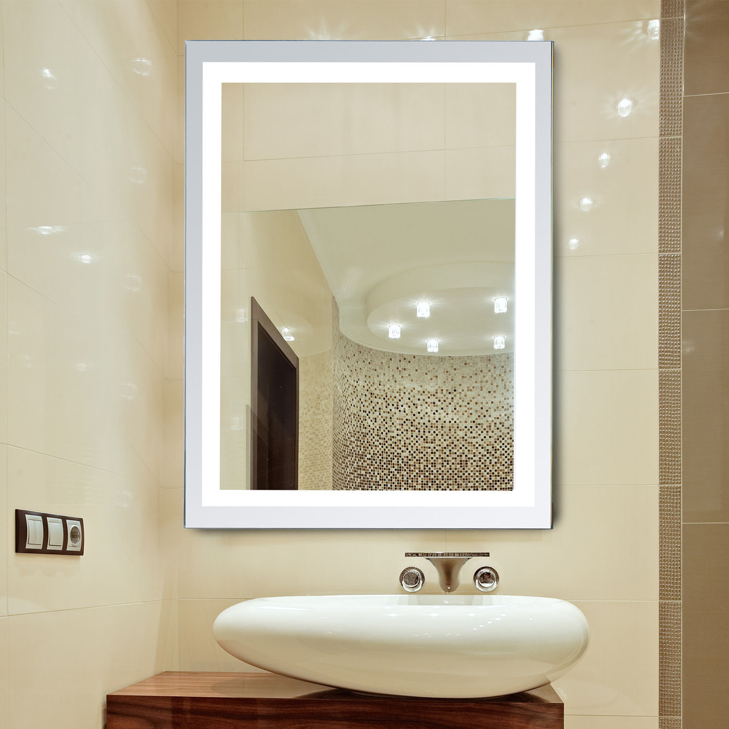 Details about LED Illuminated Bathroom Wall Mirrors with Lights Modern  Makeup Vanity Mirror