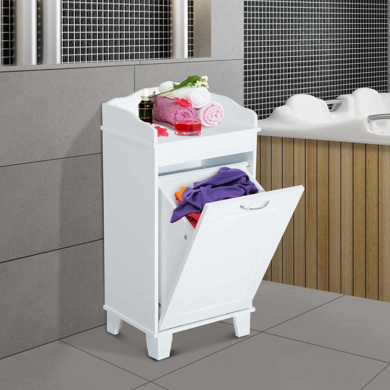 Wooden Bathroom Laundry Hamper Cabinet Tilt Out Basket Storage Home ...