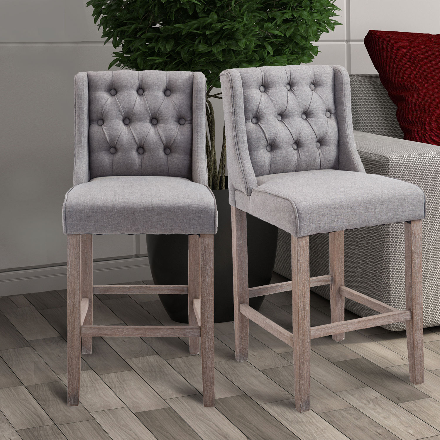 Outstanding Details About 40 Tufted Counter Height Bar Stool Dining Chair Accent Furniture Set Of 2 Gray Machost Co Dining Chair Design Ideas Machostcouk