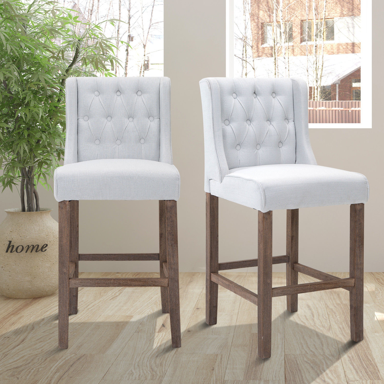 Groovy Details About 40 Set Of 2 Tufted Bar Stool Counter Height Chair Dining Accent Cream White Dailytribune Chair Design For Home Dailytribuneorg