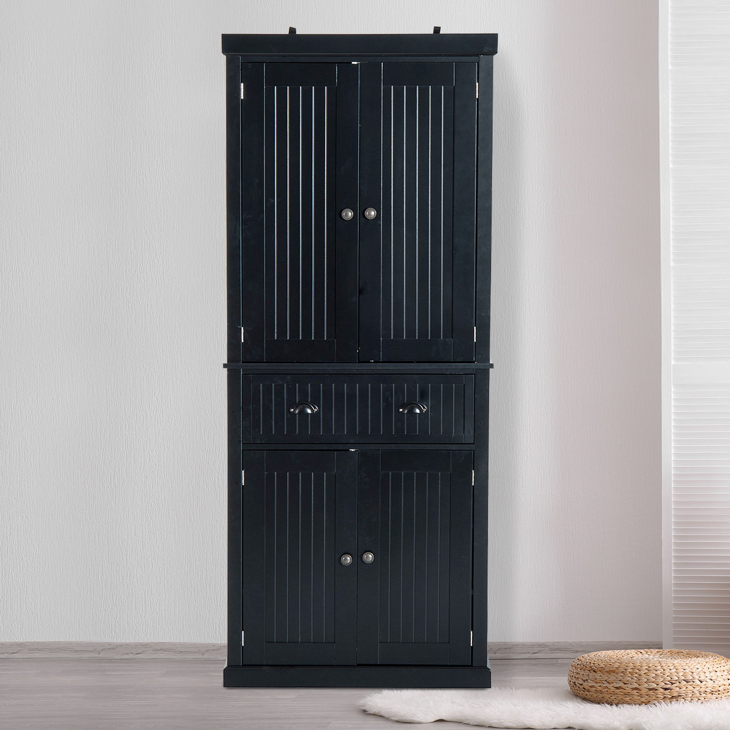 HOMCOM Tall Colonial Storage Cabinet Kitchen Pantry Cupboard Home  Organizer; Picture 2 Of 8 ...