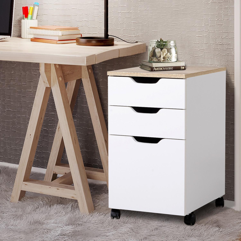 3-Drawer Rolling Filing Cabinet File Storage Organizer ...