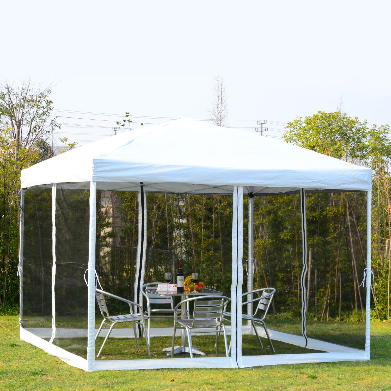 10x10 EZ Pop Up Party Wedding Tent Patio Gazebo Canopy Outdoor Mesh White w/Bag & 10x10 EZ Pop Up Party Wedding Tent Patio Gazebo Canopy Outdoor Mesh ...