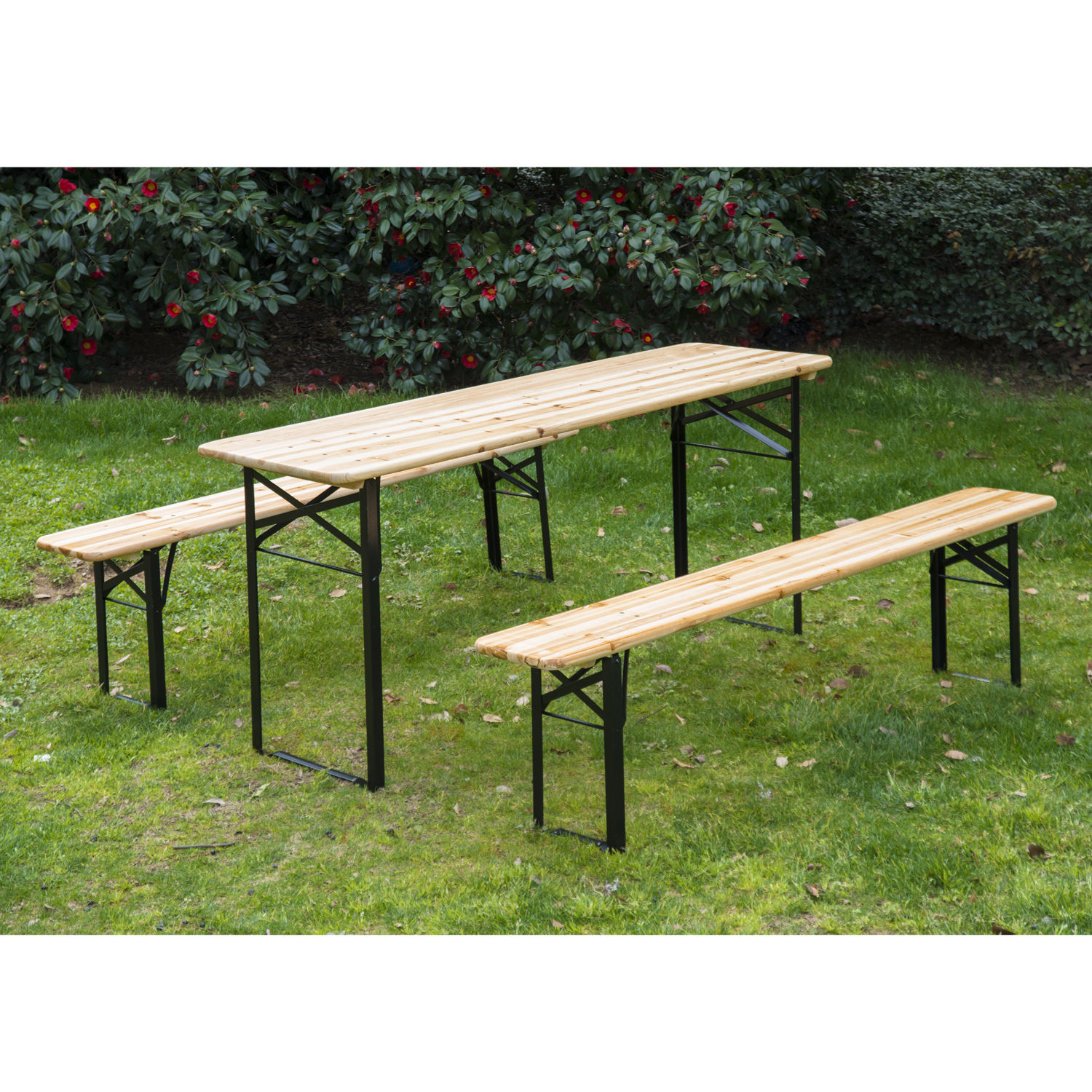 3Pcs Wooden Beer Table Bench Set Patio Folding Picnic Table Chair Garden  Yard