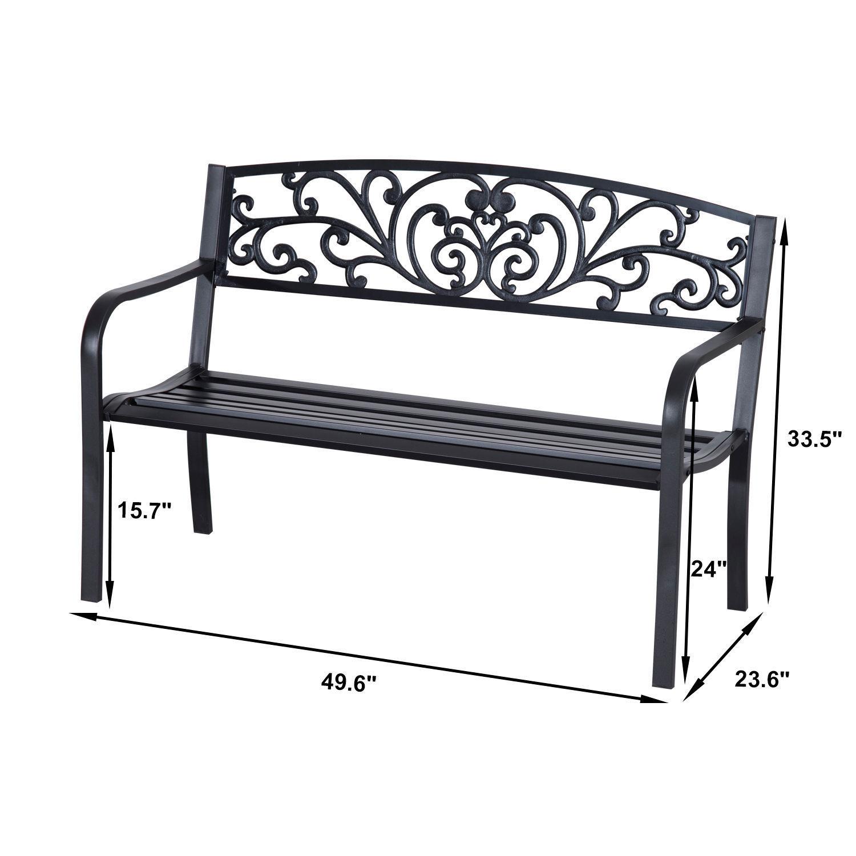 Patio-Park-Garden-Bench-Porch-Path-Chair-Outdoor-Lawn-Garden-Black-2-Seat thumbnail 3