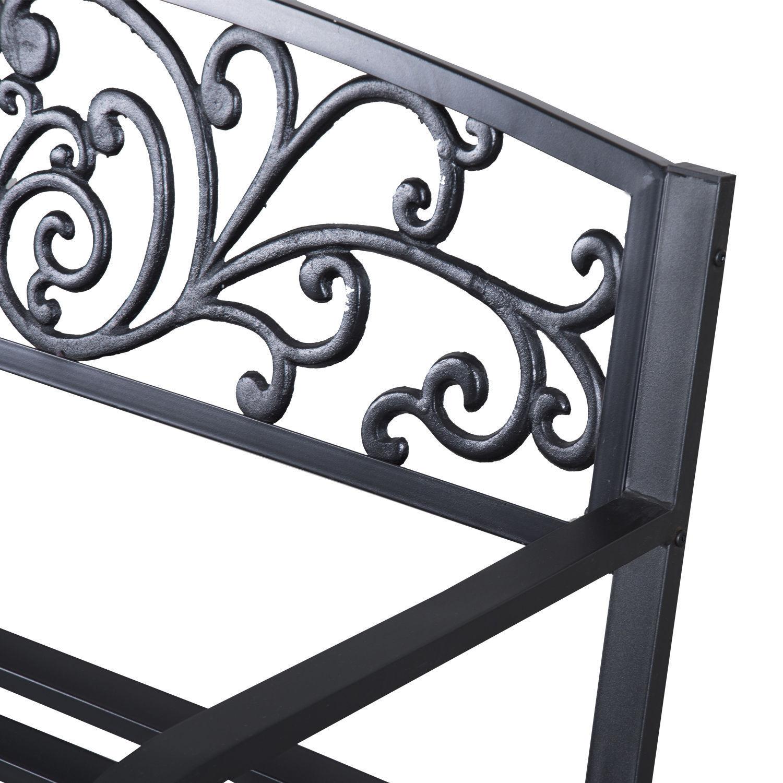 Patio-Park-Garden-Bench-Porch-Path-Chair-Outdoor-Lawn-Garden-Black-2-Seat thumbnail 6