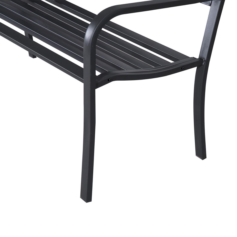 Patio-Park-Garden-Bench-Porch-Path-Chair-Outdoor-Lawn-Garden-Black-2-Seat thumbnail 8