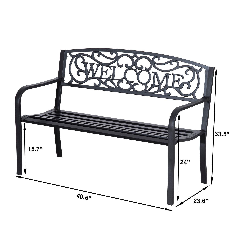 Patio-Park-Garden-Bench-Porch-Path-Chair-Outdoor-Lawn-Garden-Black-2-Seat thumbnail 10