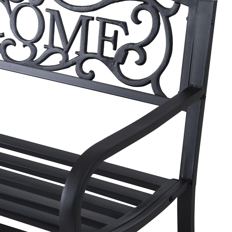 Patio-Park-Garden-Bench-Porch-Path-Chair-Outdoor-Lawn-Garden-Black-2-Seat thumbnail 14