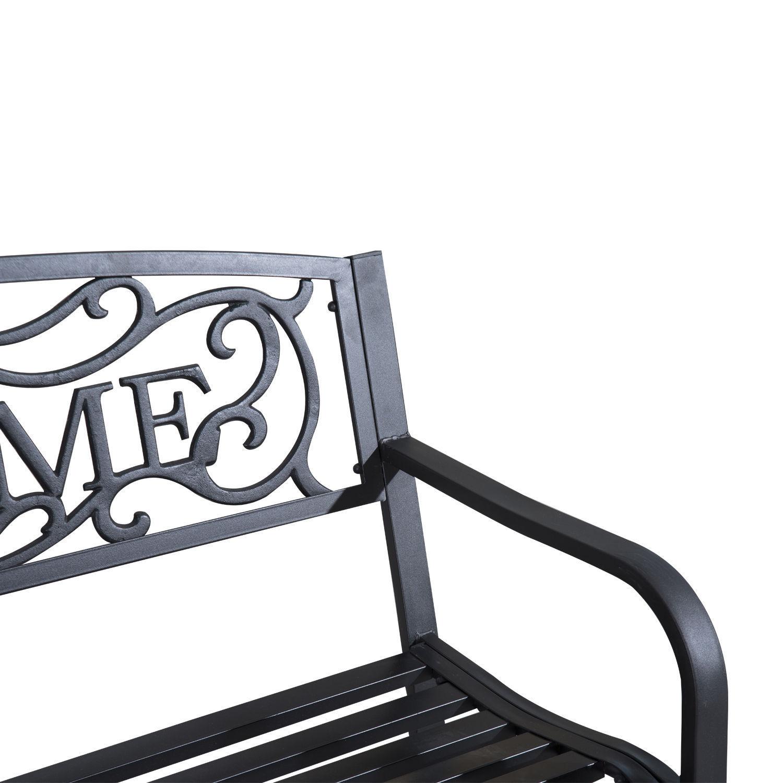 Patio-Park-Garden-Bench-Porch-Path-Chair-Outdoor-Lawn-Garden-Black-2-Seat thumbnail 15