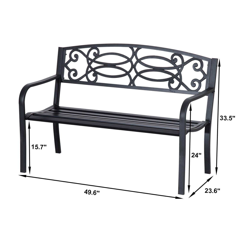 Patio-Park-Garden-Bench-Porch-Path-Chair-Outdoor-Lawn-Garden-Black-2-Seat thumbnail 17