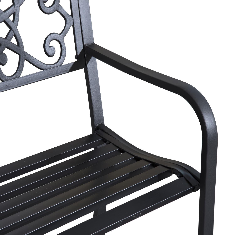 Patio-Park-Garden-Bench-Porch-Path-Chair-Outdoor-Lawn-Garden-Black-2-Seat thumbnail 21