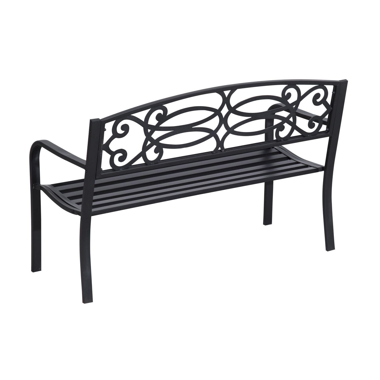 Patio-Park-Garden-Bench-Porch-Path-Chair-Outdoor-Lawn-Garden-Black-2-Seat thumbnail 19