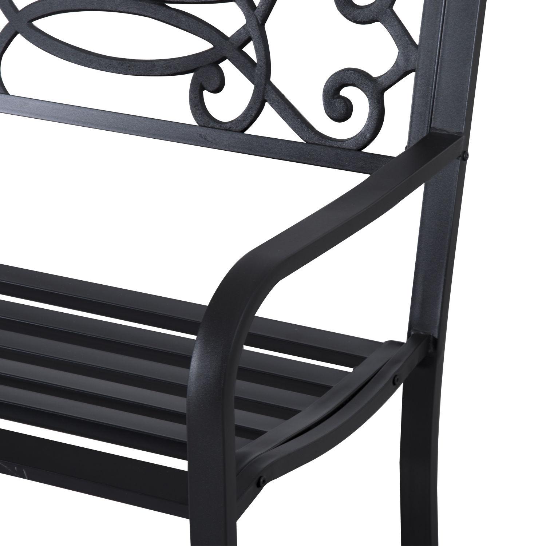 Patio-Park-Garden-Bench-Porch-Path-Chair-Outdoor-Lawn-Garden-Black-2-Seat thumbnail 22