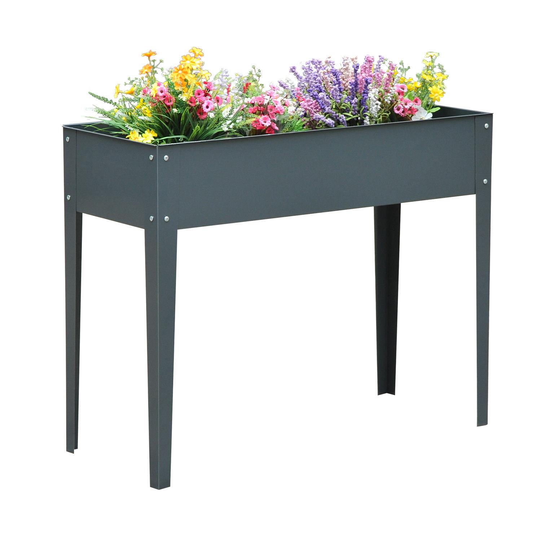 Kitchen Garden Box With Wire Top: Raised Garden Flower Bed Elevated Plant Box Deck Herb