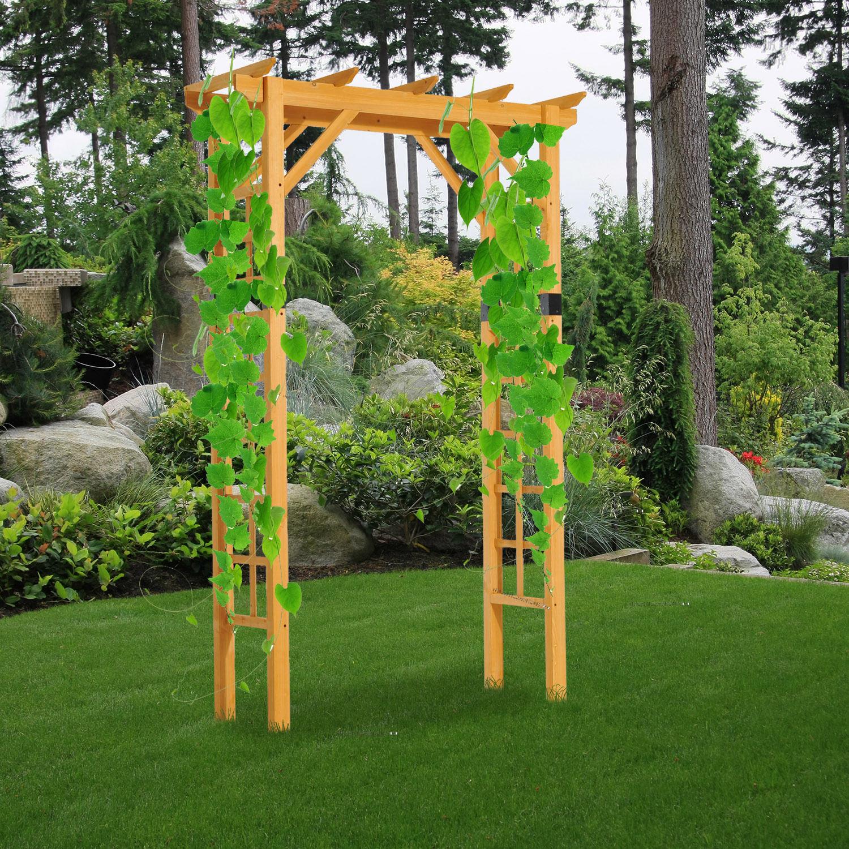 Exceptionnel 7FT Premium Fir Wooden Garden Arbor Arch Trellis Wood Yard Outdoor Lattice  Decor