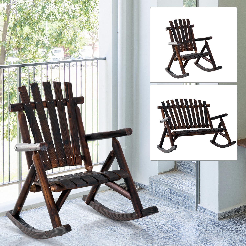 Excellent Details About Rustic Outdoor Patio Adirondack Rocking Chair Patio Furniture Porch Rocker Fir Machost Co Dining Chair Design Ideas Machostcouk