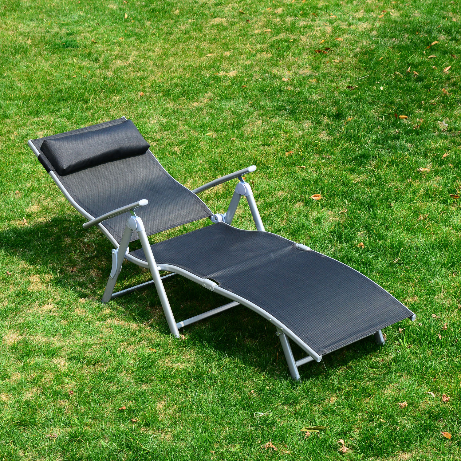 Chaise lounge chair folding pool beach yard adjustable for Beach chaise lounger