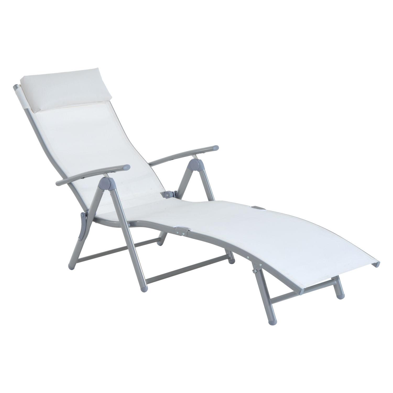 Chaise lounge chair folding pool beach yard adjustable for Beach chaise lounge folding