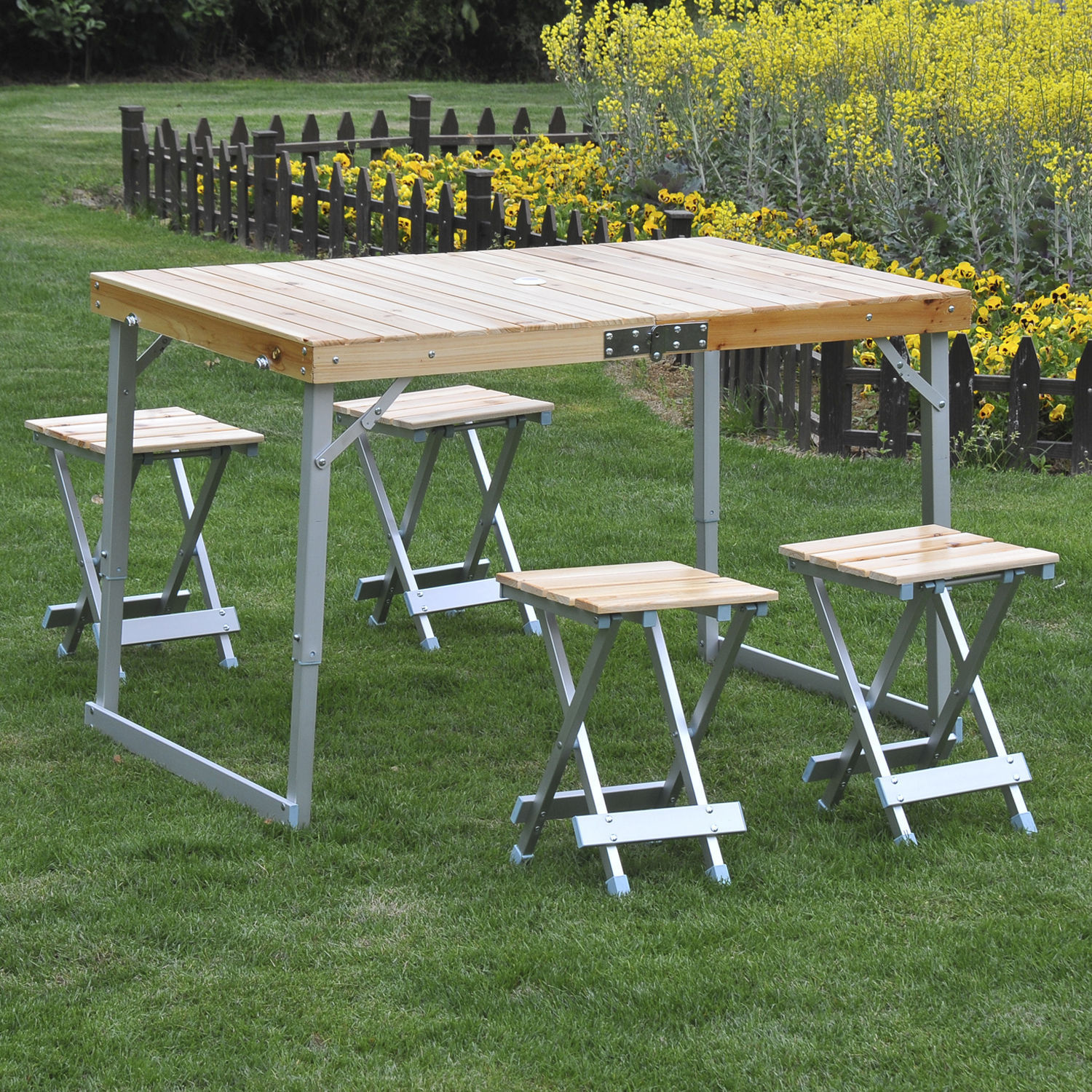 Groovy Details About Portable Folding Picnic Table 4 Seats Chairs Camping Park Outdoor Wood Aluminum Download Free Architecture Designs Scobabritishbridgeorg